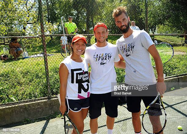 Tennis Player Kristie Ahn Denis Kudla and Benoit Paire attend LACOSTE And City Parks Foundation Host Tennis Clinic In Central Park at Central Park...