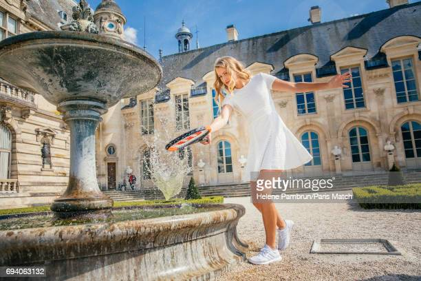 Tennis player Kristina Mladenovic is photographed for Paris Match on April 11 2017 in Chantilly France