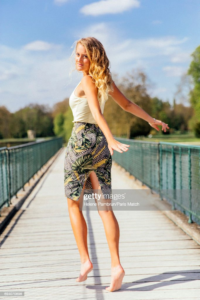 Tennis player Kristina Mladenovic is photographed for Paris Match on April 11, 2017 in Chantilly, France.