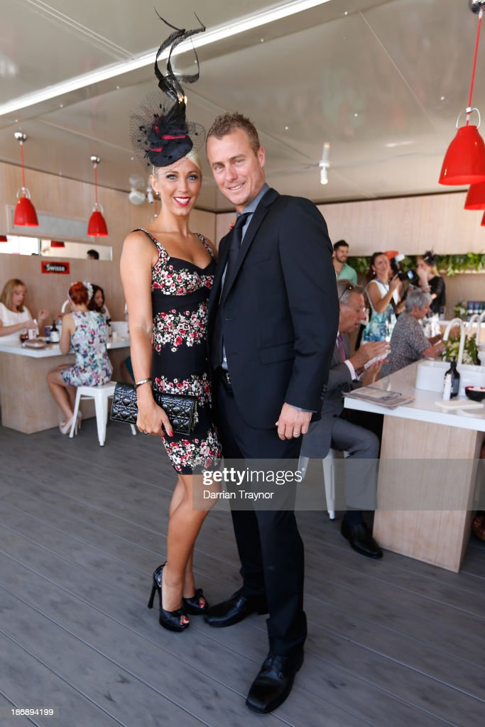 Tennis player <a gi-track='captionPersonalityLinkClicked' href=/galleries/search?phrase=Lleyton+Hewitt&family=editorial&specificpeople=167178 ng-click='$event.stopPropagation()'>Lleyton Hewitt</a> and wife Bec Hewitt attend Melbourne Cup Day at Flemington Racecourse on November 5, 2013 in Melbourne, Australia.