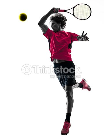 テニス プレーヤー男分離シルエット ホワイト バック グラウンド : ストックフォト