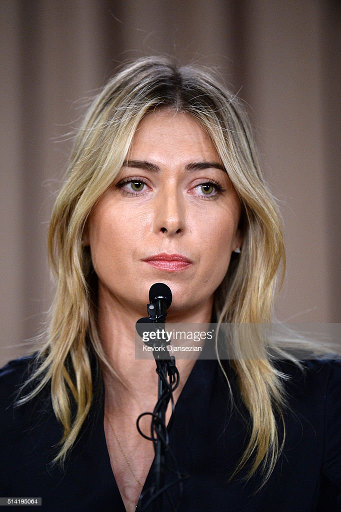 Tennis player Maria Sharapova addresses the media regarding a failed drug test at the Australian Open at The LA Hotel Downtown on March 7, 2016 in Los Angeles, California. Sharapova, a five-time major champion, is currently the 7th ranked player on the WTA tour. Sharapova, withdrew from this week's BNP Paribas Open at Indian Wells due to injury.
