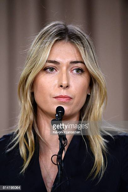Tennis player Maria Sharapova addresses the media regarding a failed drug test at the Australian Open at The LA Hotel Downtown on March 7 2016 in Los...