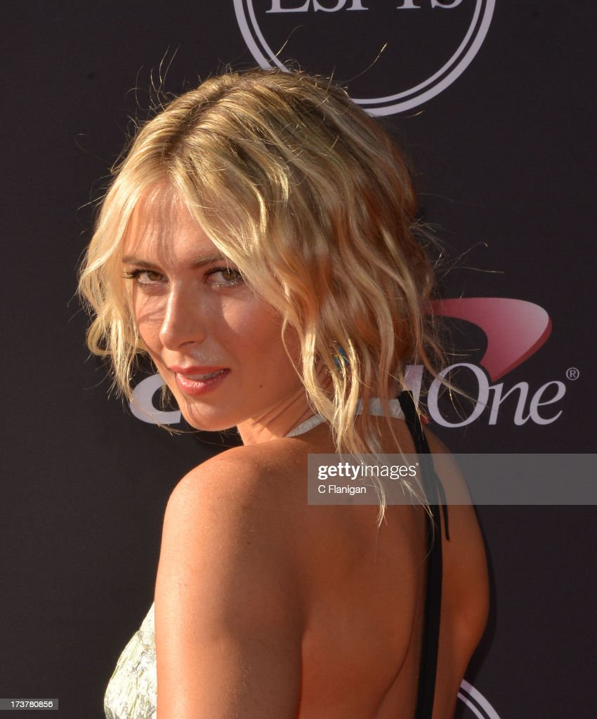 Tennis player <a gi-track='captionPersonalityLinkClicked' href=/galleries/search?phrase=Maria+Sharapova&family=editorial&specificpeople=157600 ng-click='$event.stopPropagation()'>Maria Sharapova</a> arrives at the 2013 ESPY Awards at Nokia Theatre L.A. Live on July 17, 2013 in Los Angeles, California.