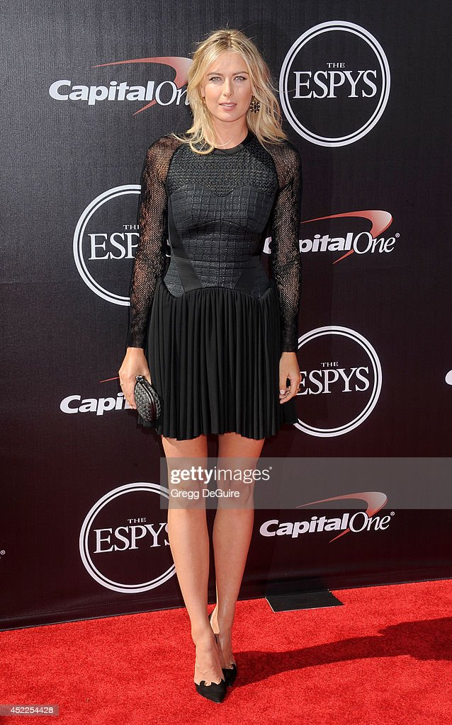 Tennis player <a gi-track='captionPersonalityLinkClicked' href=/galleries/search?phrase=Maria+Sharapova&family=editorial&specificpeople=157600 ng-click='$event.stopPropagation()'>Maria Sharapova</a> arrives at the 2014 ESPY Awards at Nokia Theatre L.A. Live on July 16, 2014 in Los Angeles, California.