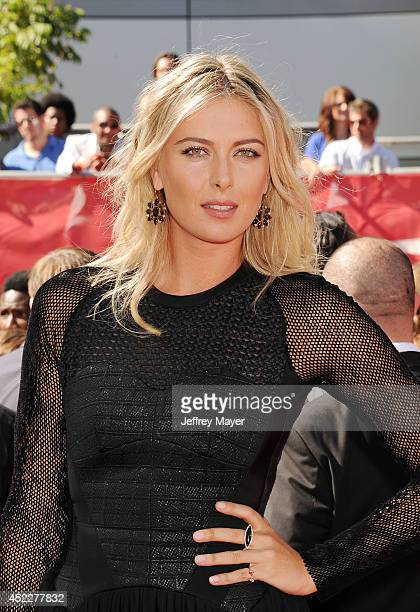 Tennis player Maria Sharapova arrives at the 2014 ESPY Awards at Nokia Theatre LA Live on July 16 2014 in Los Angeles California