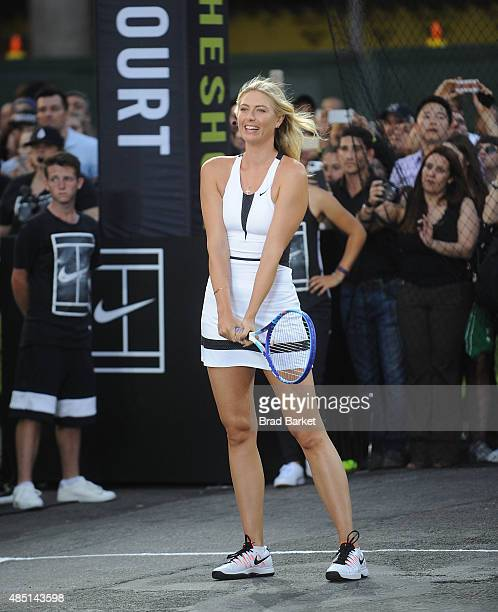 Tennis player Maria Sharapova attends Nike's 'NYC Street Tennis' Event on August 24 2015 in New York City