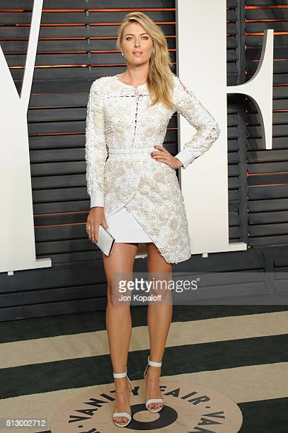 Tennis player Maria Sharapova attends the 2016 Vanity Fair Oscar Party hosted By Graydon Carter at Wallis Annenberg Center for the Performing Arts on...