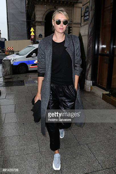 Tennis player Maria Sharapova is sighted during the Paris Fashion Week Ready To Wear S/S 2016 Day Seven on October 5 2015 in Paris France