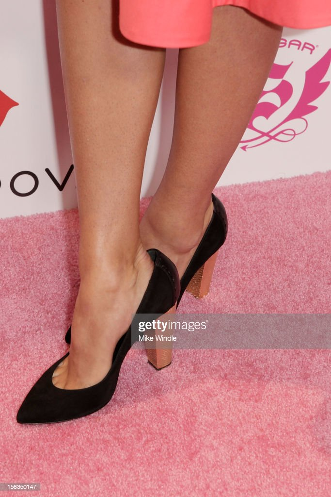 Tennis player Maria Sharapova (shoe detail) poses during Maria Sharapova launches her Sugarpova candy collection on the West Coast at It'Sugar on December 13, 2012 in Universal City, California.