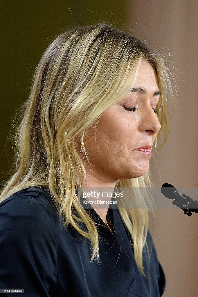 Tennis player Maria Sharapova reacts as she addresses the media regarding a failed drug test at The LA Hotel Downtown on March 7, 2016 in Los Angeles, California. Sharapova, a five-time major champion, is currently the 7th ranked player on the WTA tour. Sharapova, withdrew from this week''s BNP Paribas Open at Indian Wells due to injury.