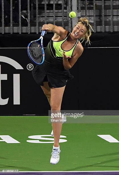 Tennis player Maria Sharapova serves during the World TeamTennis Smash Hits charity tennis event benefiting the Elton John AIDS Foundation at Caesars...