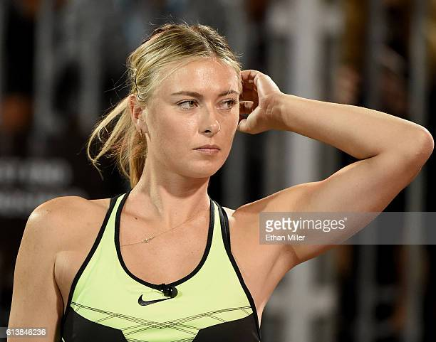 Tennis player Maria Sharapova stands on the court during the World TeamTennis Smash Hits charity tennis event benefiting the Elton John AIDS...