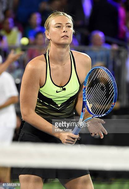 Tennis player Maria Sharapova warms up before competing in the World TeamTennis Smash Hits charity tennis event benefiting the Elton John AIDS...