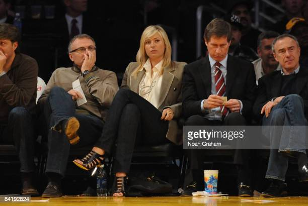 Tennis player Maria Sharapova watches a game from courtside between the New Orleans Hornets and the Los Angeles Lakers at Staples Center on January 6...