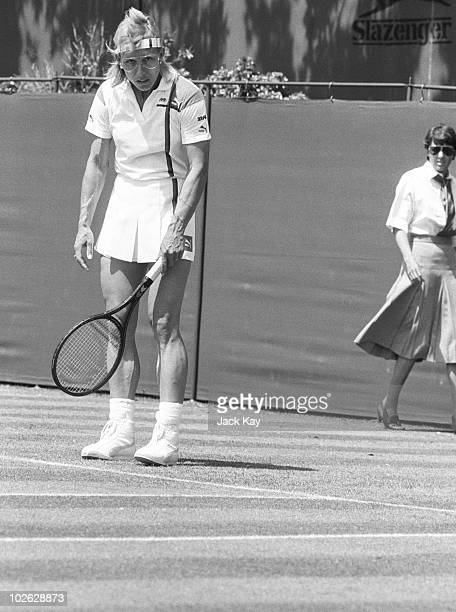 Tennis player Martina Navratilova in action at the Pilkington Glass Championships held in Eastbourne England on June 14 1988