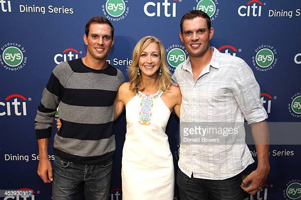 Tennis player Mike Bryan television personality Lara Spence and tennis player Bob Bryan attend Taste Of Tennis Week Taste Of Tennis Gala at the W New...