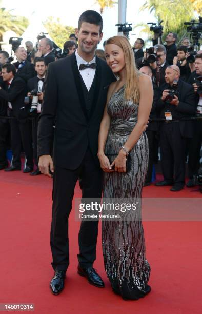 Tennis player Novak Djokovic and Jelena Ristic attend the 'Killing Them Softly' Premiere during the 65th Annual Cannes Film Festival at Palais des...