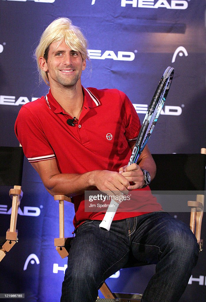 Tennis Player <a gi-track='captionPersonalityLinkClicked' href=/galleries/search?phrase=Novak+Djokovic&family=editorial&specificpeople=588315 ng-click='$event.stopPropagation()'>Novak Djokovic</a> attends the unveil the latest collection from HEAD at the The Benjamin Hotel on August 24, 2011 in New York City.