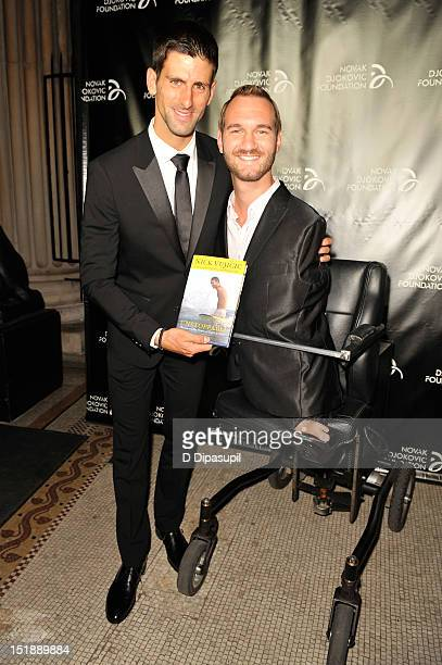 Tennis player Novak Djokovic founder and honorary chair and author and motivational speaker Nick Vujicic attend The Novak Djokovic Foundation's...