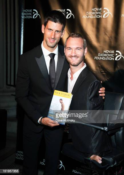 Tennis player Novak Djokovic founder and honorary chair and author and motivational speaker Nick Vujicic attends The Novak Djokovic Foundation's...
