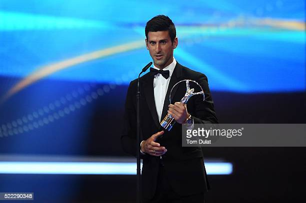 Tennis player Novak Djokovic of Serbia accepts his Laureus World Sportsman of the Year trophy during the 2016 Laureus World Sports Awards at the...