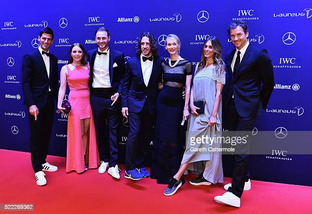 Tennis player Novak Djokovic with Laureus World Sports Academy member Carles Puyol and Laureus World Sports Ambassador Jens Lehmann attends the 2016...