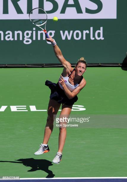 Tennis player Pauline Parmentier serving to Angelique Kerber during a match played on March 13 2017 at the Indian Wells Tennis Garden in Indian Wells...