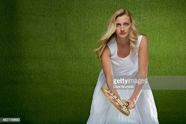 Tennis player Petra Kvitova is photographed on December 17 2014 at the town hall in Olomouc Czech Republic Petra wears a 1930's vintage tennis dress...