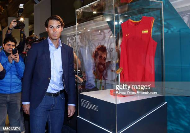Tennis player Rafa Nadal attends a meeting at Telefonica Flagship Store on December 4 2017 in Madrid Spain