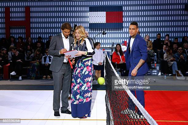 Tennis player Rafael Nadal Actress Justine Fraioli and Football players Gregory van der Wiel do the show during Tommy Hilfiger hosts Tommy X Nadal...