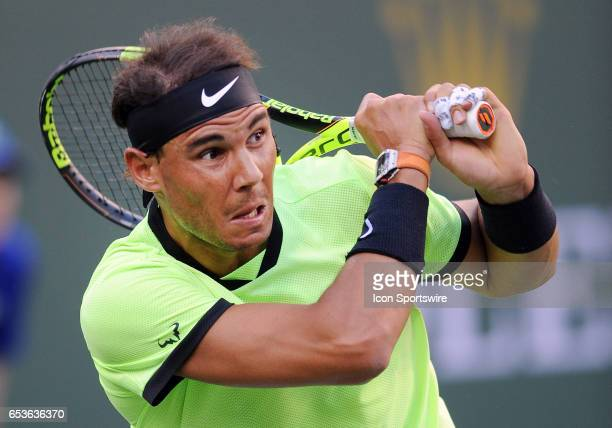 ATP tennis player Rafael Nadal in action during a match against Roger Federer on March 15 during the BNP Paribas Open tournament played at the Indian...