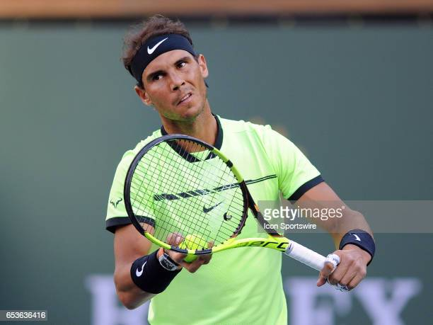 ATP tennis player Rafael Nadal in action in the first set of a match against Roger Federer on March 15 during the BNP Paribas Open tournament played...