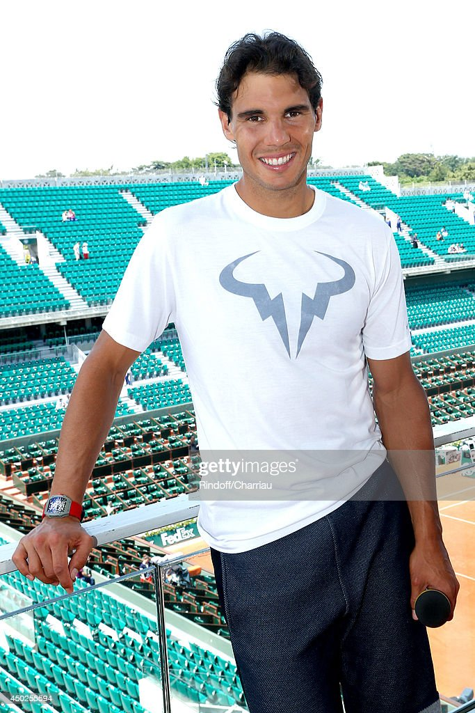 Tennis Player Rafael Nadal poses at France Television french chanels studio after she won the Roland Garros French Tennis Open 2014 - Day 14 on June 7, 2014 in Paris, France.