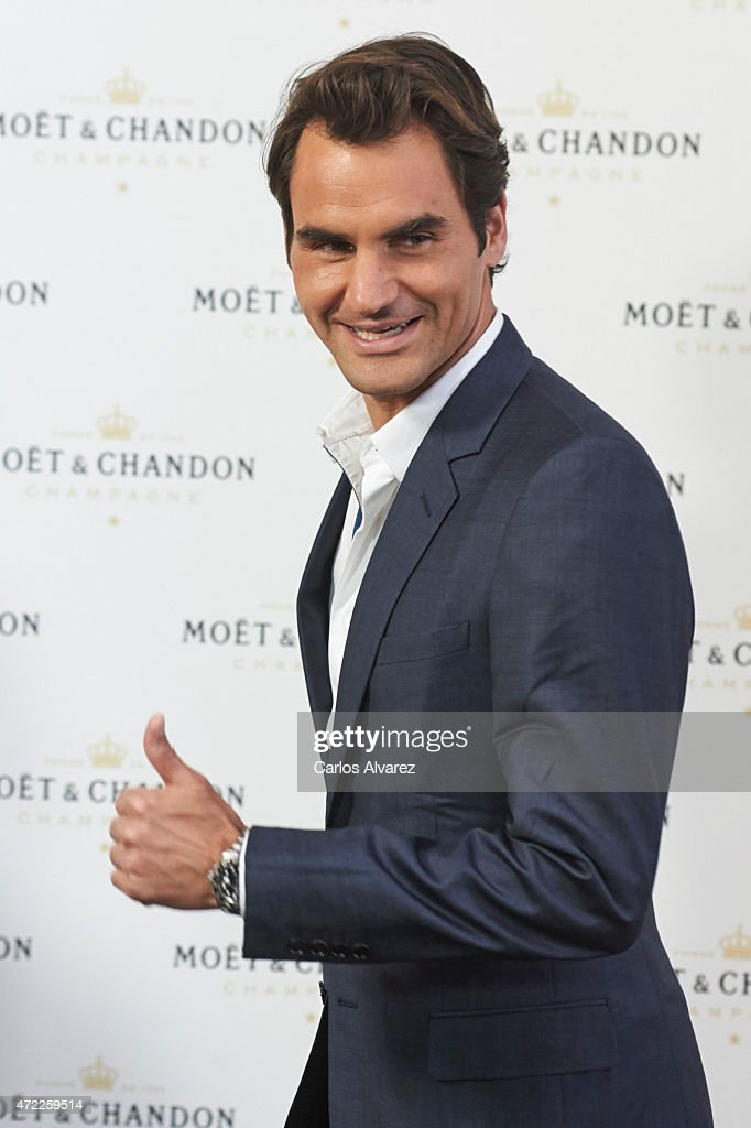 Tennis player <a gi-track='captionPersonalityLinkClicked' href=/galleries/search?phrase=Roger+Federer&family=editorial&specificpeople=157480 ng-click='$event.stopPropagation()'>Roger Federer</a> attends 'Moet Tiny Tennis' event at the French Embassy on May 5, 2015 in Madrid, Spain.