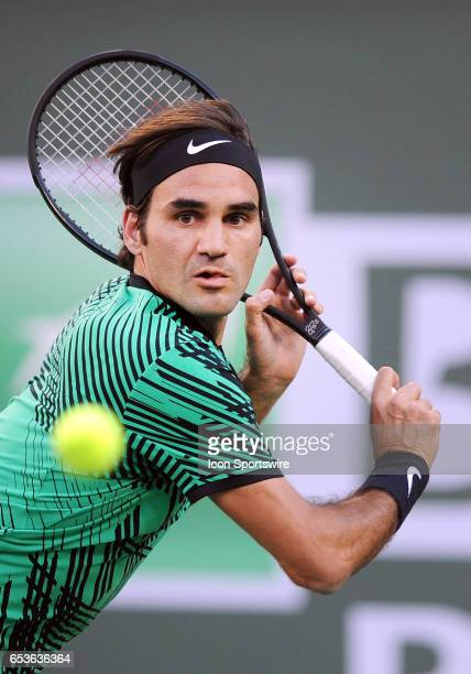ATP tennis player Roger Federer in action during a match against Rafael Nadal on March 15 during the BNP Paribas Open tournament played at the Indian...