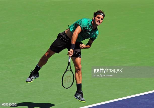 ATP tennis player Roger Federer in action during the first set of a match against Jack Sock on March 18 during the BNP Paribas Open played at the...