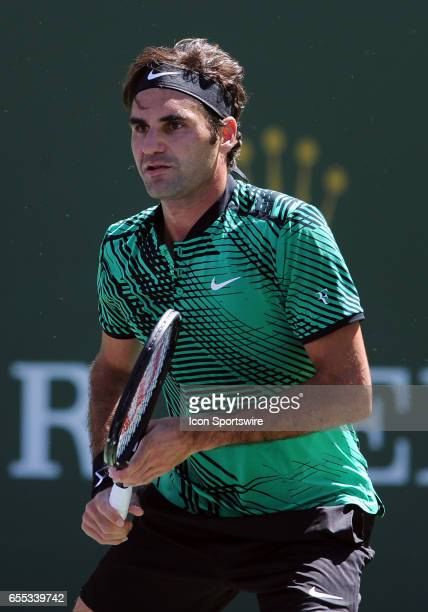 ATP tennis player Roger Federer in action during the second set of a match against Jack Sock on March 18 during the BNP Paribas Open played at the...