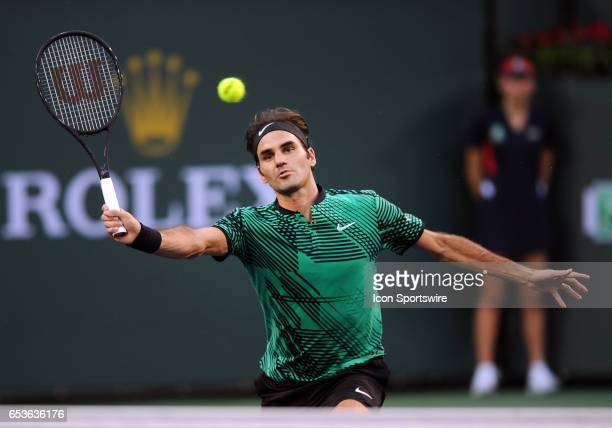 ATP tennis player Roger Federer in action in the second set of a match against Rafael Nadal on March 15 during the BNP Paribas Open tournament played...