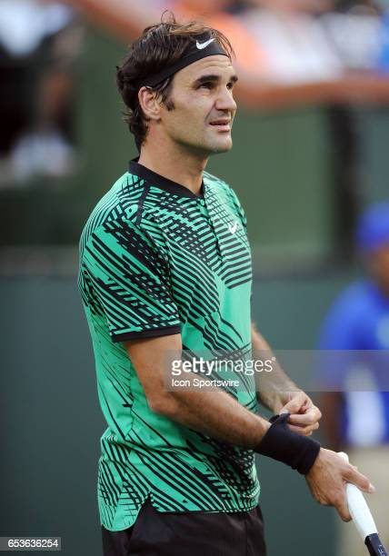 ATP tennis player Roger Federer on the court during the second set of a match against Rafael Nadal on March 15 during the BNP Paribas Open tournament...