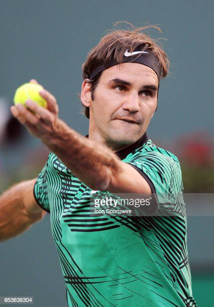 ATP tennis player Roger Federer serving during a match against Rafael Nadal on March 15 during the BNP Paribas Open tournament played at the Indian...