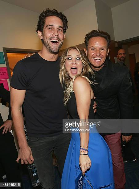 Tennis player Ryan Sweeting actress Kaley Cuoco and producer Mark Burnett attend The 40th Annual People's Choice Awards at Nokia Theatre LA Live on...