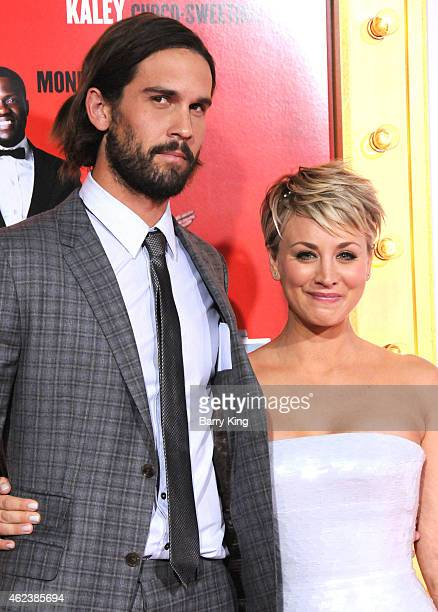 Tennis Player Ryan Sweeting and actress Kaley CuocoSweeting attend the premiere of 'The Wedding Ringer' at TCL Chinese Theatre on January 6 2015 in...