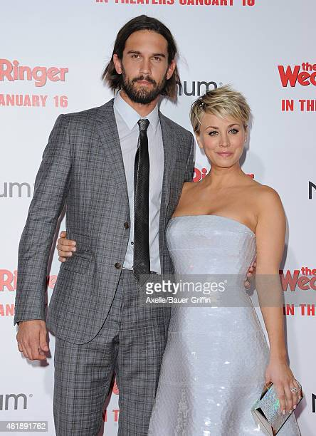 Tennis player Ryan Sweeting and wife/actress Kaley CuocoSweeting arrive at the premiere of 'The Wedding Ringer' at TCL Chinese Theatre on January 6...