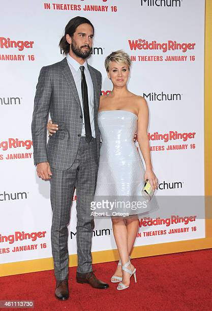 Tennis player Ryan Sweeting and wife/actress Kaley CuocoSweeting arrive for the Premiere Of Screen Gems' 'The Wedding Ringer' held at TCL Chinese...