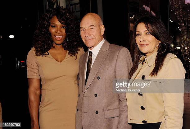 Tennis player Serena Williams actor Sir Patrick Stewart and Marina Sirtis arrive at the Burberry Body Event hosted by Christopher Bailey and Rosie...