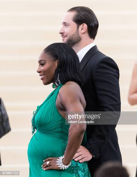 Tennis player Serena Williams and Alexis Ohanian are seen at the 'Rei Kawakubo/Comme des Garcons Art Of The InBetween' Costume Institute Gala at...
