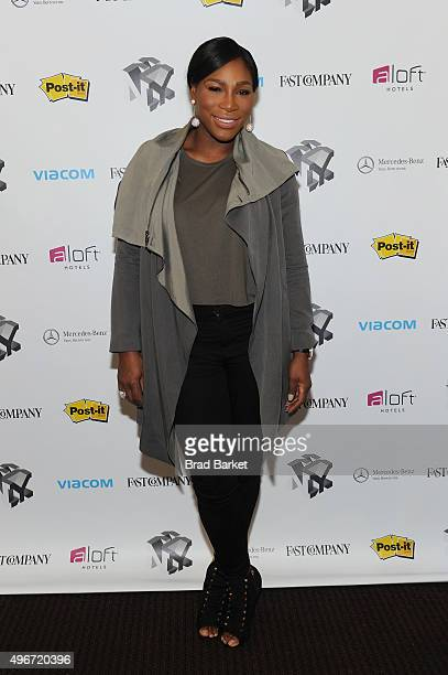 Tennis player Serena Williams appears during The Fast Company Innovation Festival presentation of 'Inside Nike's Playbook with Nike CEO Mark Parker...