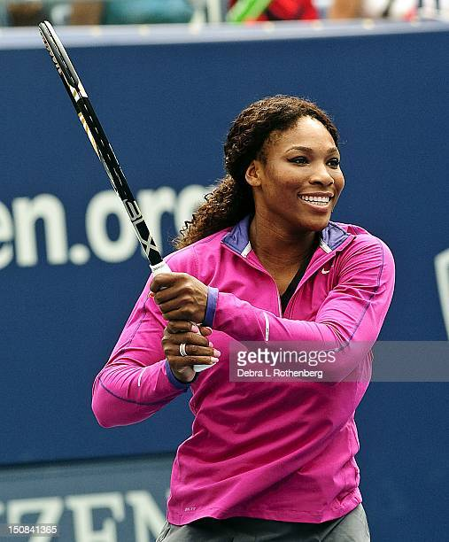 Tennis player Serena Williams attends 2012 Arthur Ashe Kids' Day at the USTA Billie Jean King National Tennis Center on August 25 2012 in New York...