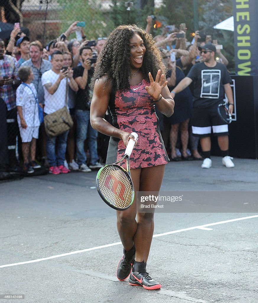 Tennis player <a gi-track='captionPersonalityLinkClicked' href=/galleries/search?phrase=Serena+Williams&family=editorial&specificpeople=171101 ng-click='$event.stopPropagation()'>Serena Williams</a> attends Nike's 'NYC Street Tennis' Event on August 24, 2015 in New York City.